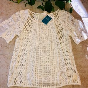 Anthropologie | Ivory Crochet Top
